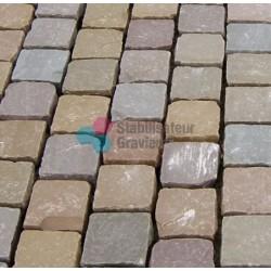 Pavés Grès en pierre naturel 14 x 14  épaisseur 5/7cm mixt color